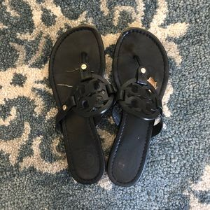 Tory Burch Leather Miller Sandal in Black